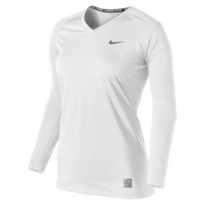 Nike Pro Fitted Ls V-Neck 38 (W) White Cool Grey