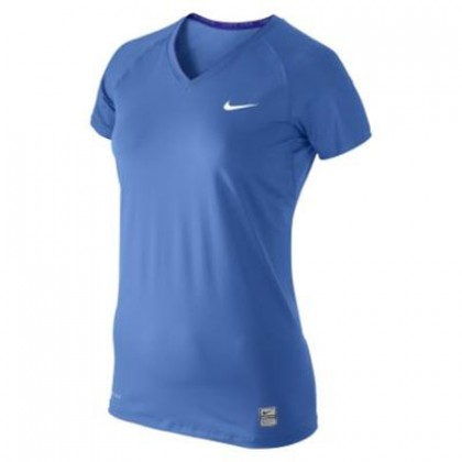 Nike Pro Fitted Ss V-Neck 39 (W) Vibrant Blue