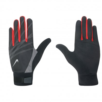 NIKE Men's Elite Storm Fit Run Glove BLk Red