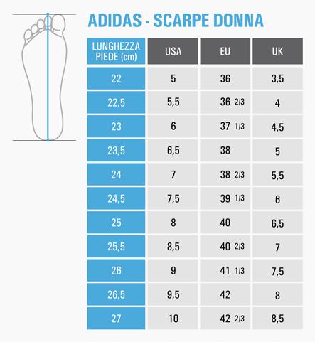 misura scarpe adidas nike