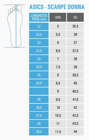 corrispondenza numeri scarpe asics